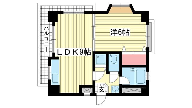 物件番号: 1025882716 ポールドエスカール  神戸市中央区花隈町 1LDK マンション 間取り図
