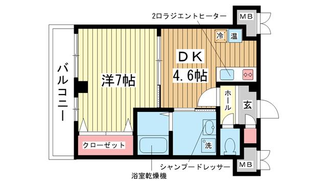 物件番号: 1025882718 ラ・フォンテ三宮旭  神戸市中央区旭通1丁目 1DK マンション 間取り図