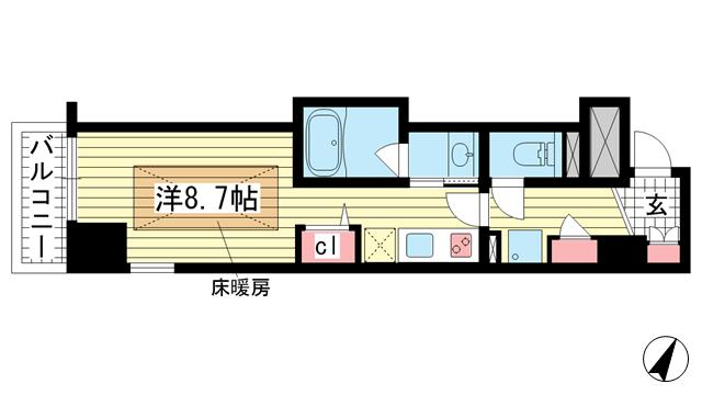 物件番号: 1025882719 J-cube KOBE  神戸市中央区楠町6丁目 1K マンション 間取り図
