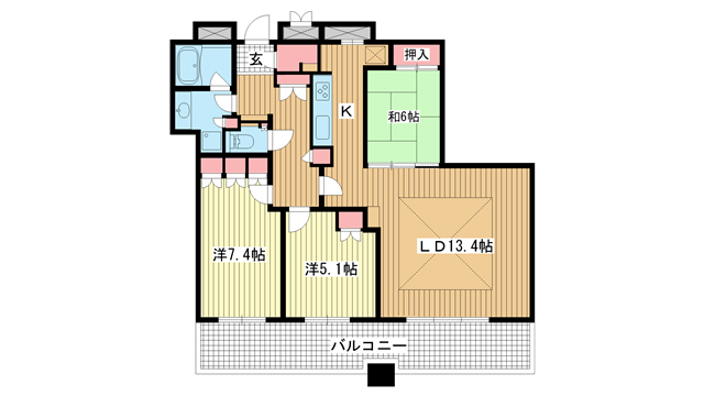 物件番号: 1025882720 トア山手 ザ・神戸タワー  神戸市中央区中山手通3丁目 3LDK マンション 間取り図