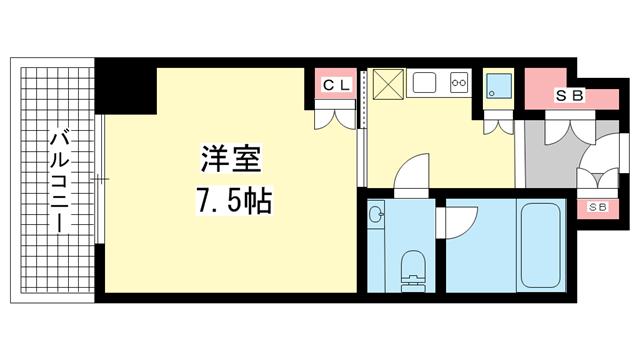 物件番号: 1025882730 アクセスメゾン神戸  神戸市東灘区深江本町1丁目 1R マンション 間取り図
