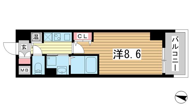 物件番号: 1025882742 カスタリア三宮  神戸市中央区磯辺通3丁目 1K マンション 間取り図