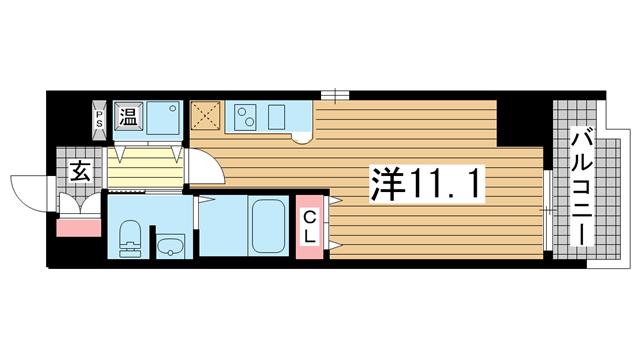 物件番号: 1025882744 カスタリア三宮  神戸市中央区磯辺通3丁目 1R マンション 間取り図