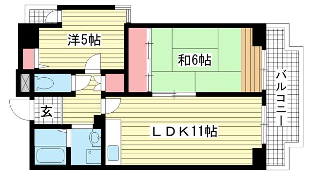 物件番号: 1025882752 ホロン・コート神戸  神戸市兵庫区塚本通1丁目 2LDK マンション 間取り図