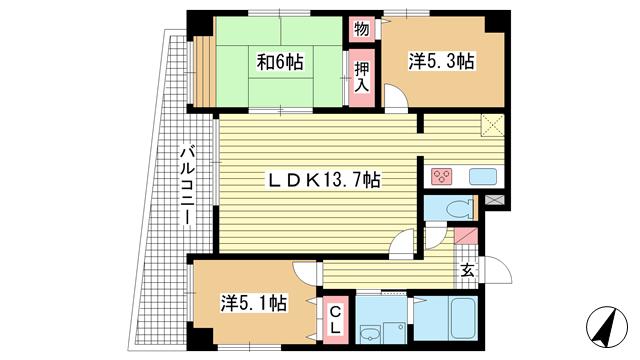 物件番号: 1025882759 カーサ神戸下山手  神戸市中央区下山手通3丁目 3LDK マンション 間取り図
