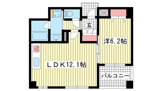 物件番号: 1025882760 ドルフブランシュ・ブルー  神戸市中央区中町通3丁目 1LDK マンション 間取り図