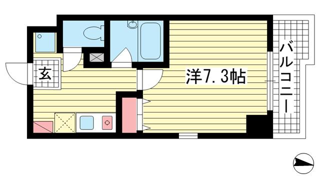 物件番号: 1025882776 アルパ三宮  神戸市中央区琴ノ緒町1丁目 1K マンション 間取り図