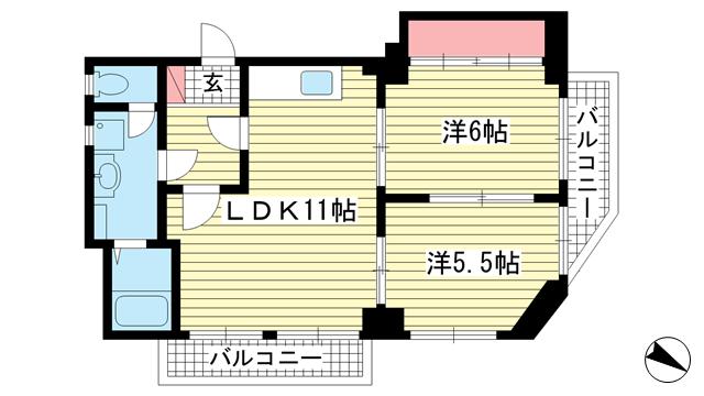 物件番号: 1025882787 グリーンヒルハイツ  神戸市中央区熊内町4丁目 2LDK マンション 間取り図