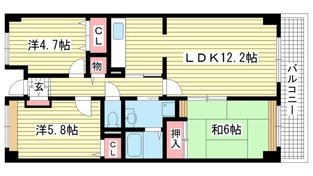 物件番号: 1025882789 シティ南落合  神戸市須磨区南落合1丁目 3LDK マンション 間取り図