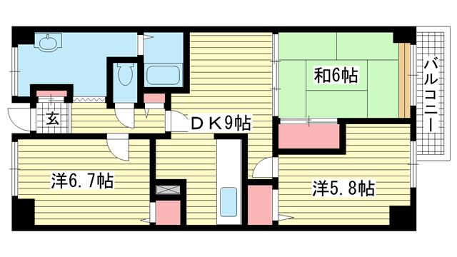 物件番号: 1025882791 シティ南落合  神戸市須磨区南落合1丁目 3DK マンション 間取り図