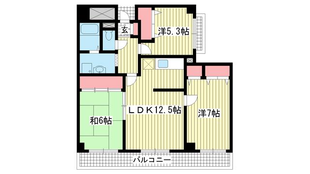 物件番号: 1025882792 シティ南落合  神戸市須磨区南落合1丁目 3DK マンション 間取り図