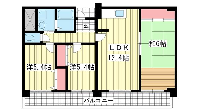物件番号: 1025882793 シティ南落合  神戸市須磨区南落合1丁目 3DK マンション 間取り図