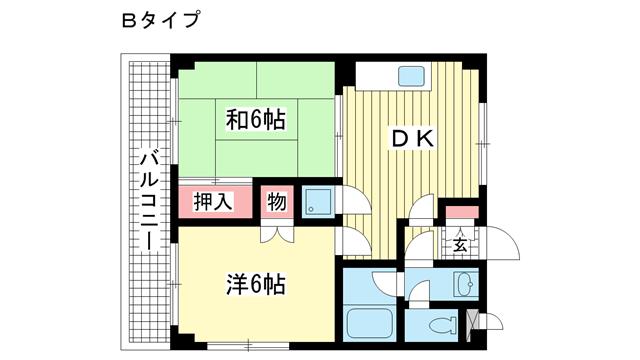 物件番号: 1025882797 ヒルズ山下Ⅴ  神戸市長田区山下町1丁目 2DK マンション 間取り図