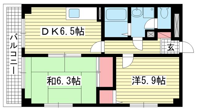 物件番号: 1025882799 パルメーラ御船  神戸市長田区御船通2丁目 2DK マンション 間取り図