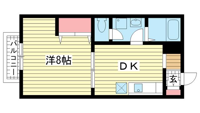 物件番号: 1025882800 中山手ガーデンパレスA棟  神戸市中央区中山手通7丁目 1DK ハイツ 間取り図
