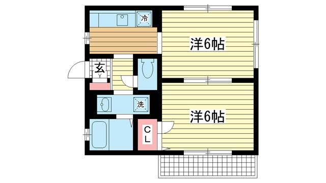 物件番号: 1025882801 中山手ガーデンパレスC棟  神戸市中央区中山手通7丁目 2K ハイツ 間取り図