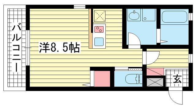 物件番号: 1025882823 COZY8  神戸市兵庫区松本通8丁目 1K ハイツ 間取り図