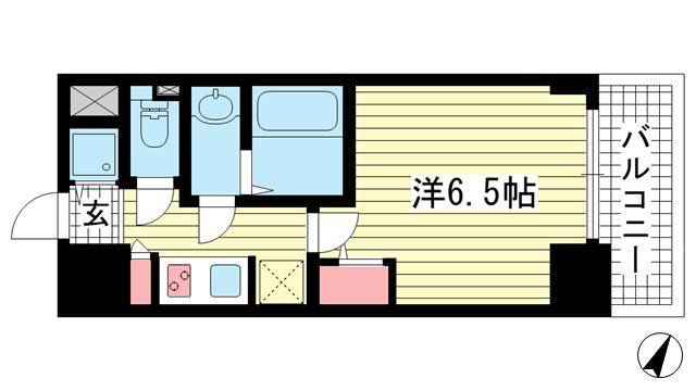物件番号: 1025882830 S-RESIDENCE神戸元町  神戸市中央区相生町1丁目 1K マンション 間取り図