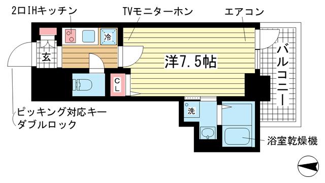 物件番号: 1025882833 カシータ神戸元町JP  神戸市中央区花隈町 1R マンション 間取り図