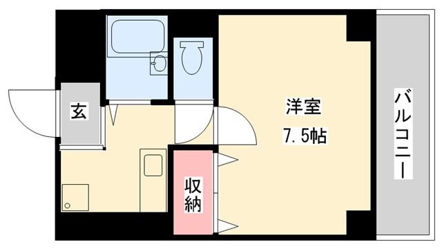 物件番号: 1025882838 大日マンション  神戸市中央区大日通2丁目 1K マンション 間取り図