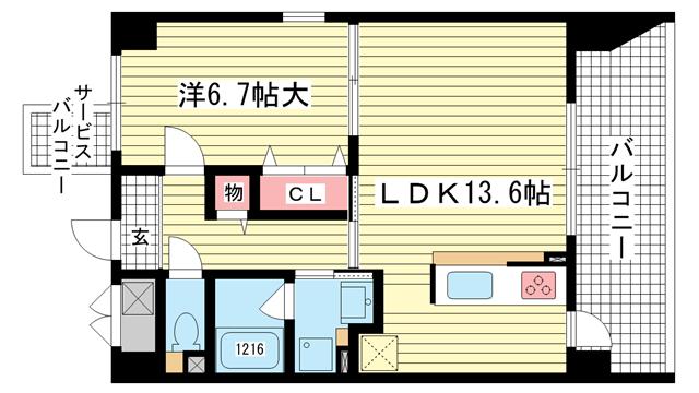 物件番号: 1025882841 ソレイユ アンド メイプル  神戸市兵庫区入江通2丁目 1LDK マンション 間取り図