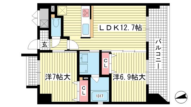 物件番号: 1025882842 ソレイユ アンド メイプル  神戸市兵庫区入江通2丁目 2LDK マンション 間取り図