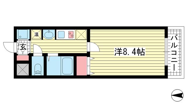 物件番号: 1025882844 レオンコンフォート神戸西  神戸市兵庫区大開通2丁目 1K マンション 間取り図