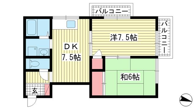 物件番号: 1025882847 セジュール坂口  神戸市中央区坂口通4丁目 2DK マンション 間取り図