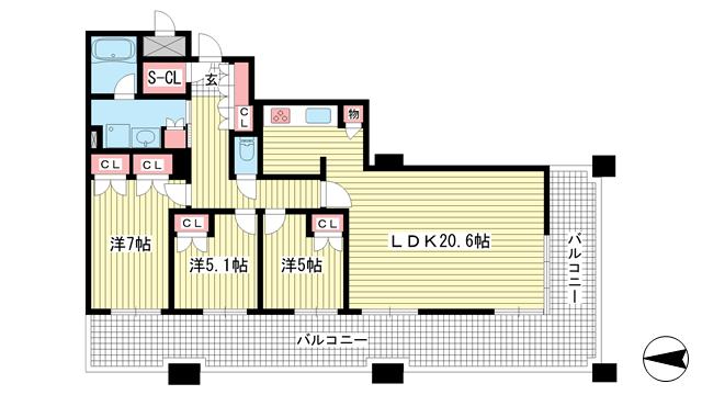 物件番号: 1025882848 D'グラフォート神戸三宮タワー  神戸市中央区八幡通4丁目 3LDK マンション 間取り図