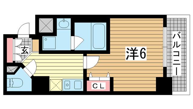 物件番号: 1025882850 KAISEI神戸海岸通  神戸市中央区栄町通4丁目 1K マンション 間取り図