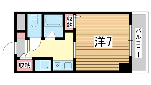 物件番号: 1025882854 リーガルコート明和  神戸市中央区二宮町3丁目 1K マンション 間取り図