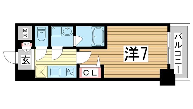 物件番号: 1025882855 ファーストレジデンス三宮イースト  神戸市中央区東雲通4丁目 1K マンション 間取り図