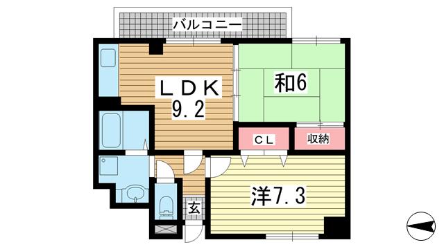 物件番号: 1025882856 ラ・フォルテ スエヨシ  神戸市中央区二宮町1丁目 2LDK マンション 間取り図
