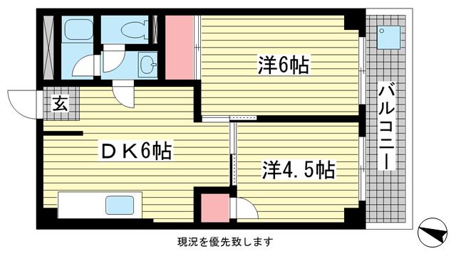 物件番号: 1025882862 グランディア北野 山本通り  神戸市中央区山本通2丁目 2DK マンション 間取り図