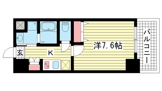 物件番号: 1025882863 アドバンス神戸グルーブ  神戸市中央区生田町3丁目 1K マンション 間取り図