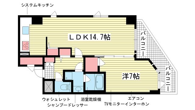 物件番号: 1025882871 プレサンス神戸駅前グランツ  神戸市中央区中町通3丁目 1LDK マンション 間取り図