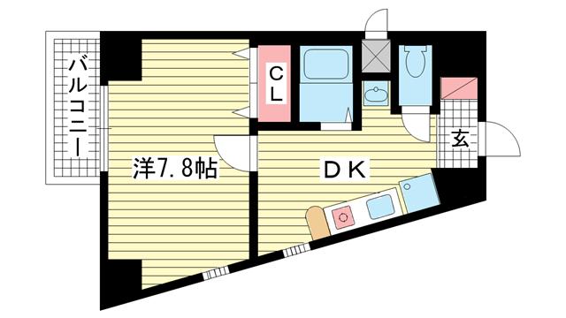 物件番号: 1025882872 エステムコート新神戸エリタージュ  神戸市中央区生田町1丁目 1DK マンション 間取り図