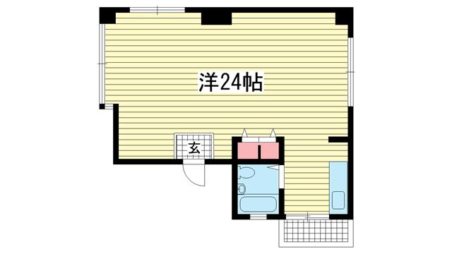 物件番号: 1025882874 No.1ビル  神戸市中央区旭通3丁目 1R マンション 間取り図