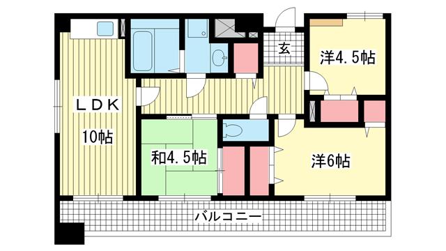 物件番号: 1025882880 サンフォレスト岡  神戸市中央区脇浜町3丁目 3LDK マンション 間取り図
