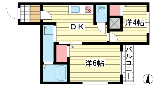 物件番号: 1025882884 永光マンション  神戸市中央区山本通4丁目 2DK マンション 間取り図