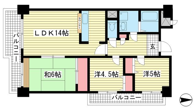 物件番号: 1025882886 ライフ新神戸  神戸市中央区生田町1丁目 3LDK マンション 間取り図