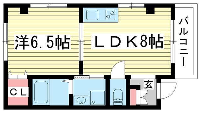 物件番号: 1025882892 ERCity's nishinada  神戸市灘区岩屋中町1丁目 1LDK マンション 間取り図