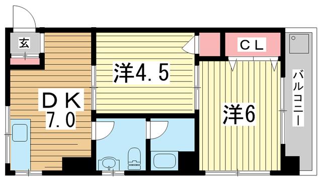 物件番号: 1025882894 メゾン101  神戸市灘区一王山町 2DK マンション 間取り図