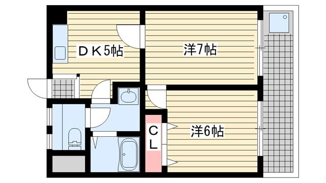物件番号: 1025882895 メゾン101  神戸市灘区一王山町 2DK マンション 間取り図