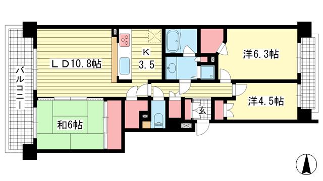 物件番号: 1025882923 パーク・ハイム神戸熊内町  神戸市中央区熊内町5丁目 3LDK マンション 間取り図
