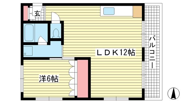 物件番号: 1025882926 パールライフビル  神戸市中央区山本通2丁目 1LDK マンション 間取り図