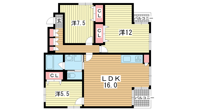 物件番号: 1025882927 光明コーポラス  神戸市中央区元町通4丁目 3LDK マンション 間取り図