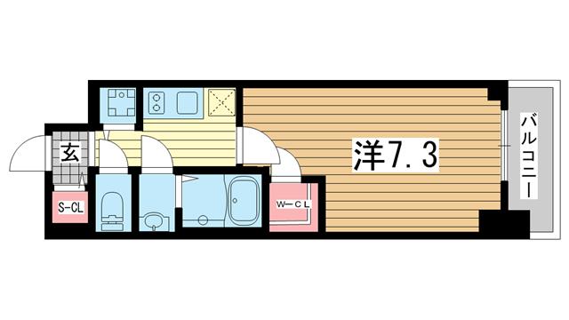 物件番号: 1025882928 エスリード神戸ハーバーテラス  神戸市中央区中町通4丁目 1K マンション 間取り図