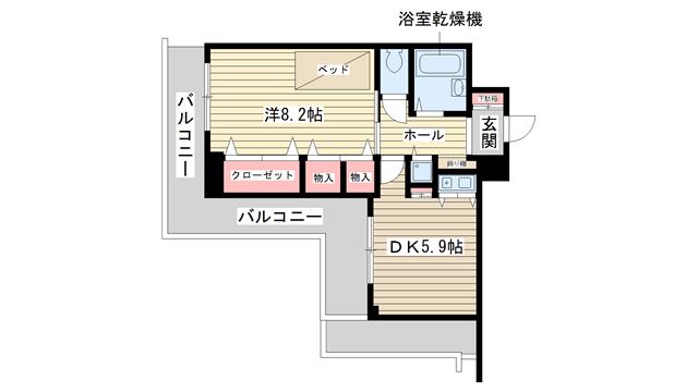 物件番号: 1025882930 ルモンド兵庫  神戸市兵庫区入江通2丁目 1DK マンション 間取り図