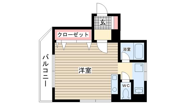 物件番号: 1025882951 エトワール山手KOYAMA  神戸市中央区加納町3丁目 1R マンション 間取り図